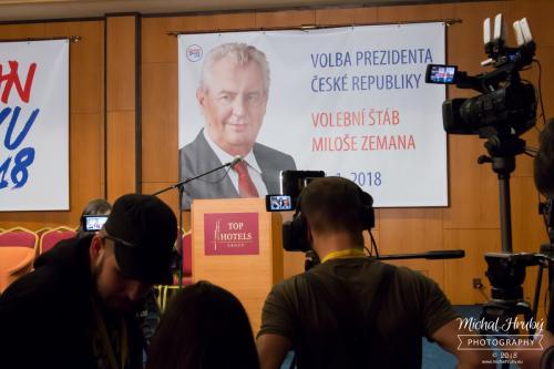 Volební štáb Miloše Zemana v Top Hotel Praha